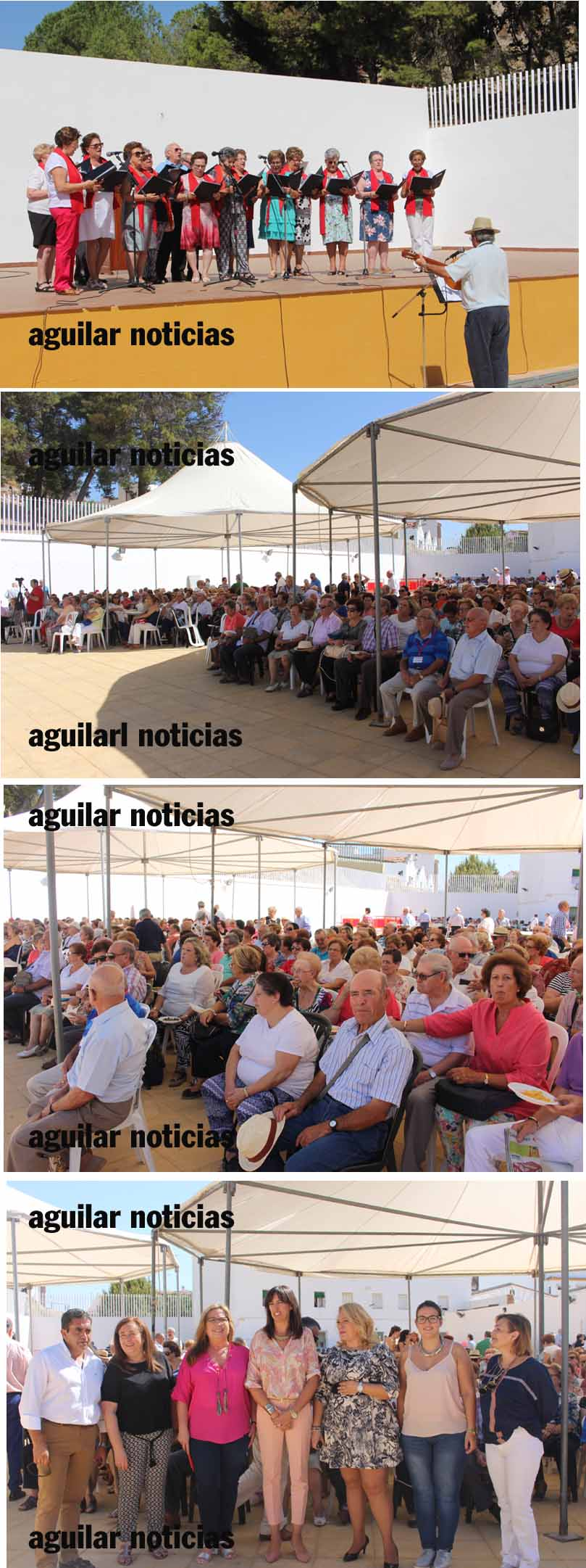 Distintos momentos del encuentro celebrado hoy en la Caseta Municipal. También aparecen las autoridades asistentes.